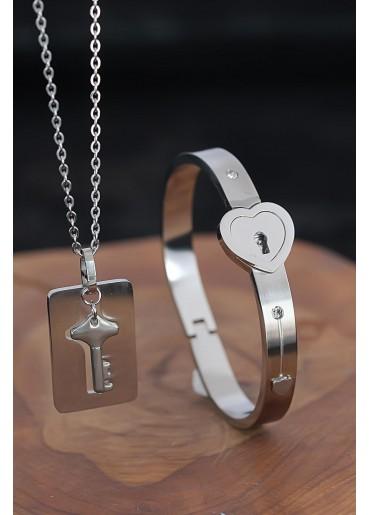 Anahtarlı Kelepçe Çelik Kolye Ve Kalpli Paslanmaz Çelik Bileklik Seti