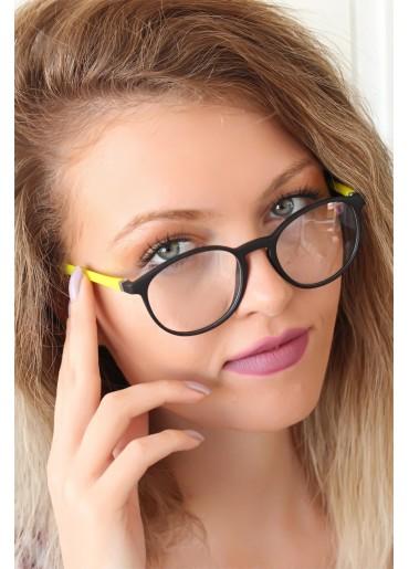 Siyah Renk Oval Sarı Renk  Bayan Gözlük